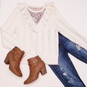 Anthropologie Ruffle & Lace Sweater
